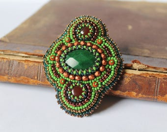 Green Copper Brooch Beadwork Brooch Bead embroidered Brooch Beaded Brooch Cabochon Embroidery Woodland Earthy Oriental Ethnic jewelry Gift