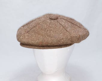 Vintage Stetson 1960s Red Flecked Tweed Newsboy Cap - Union Made - Size LARGE, Mid Century, Hipster, Cool Hat Bro