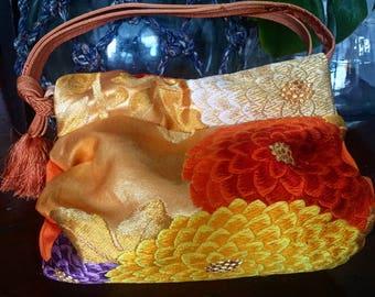 One-of-kind Small Vintage Kimono Bag With Obijime