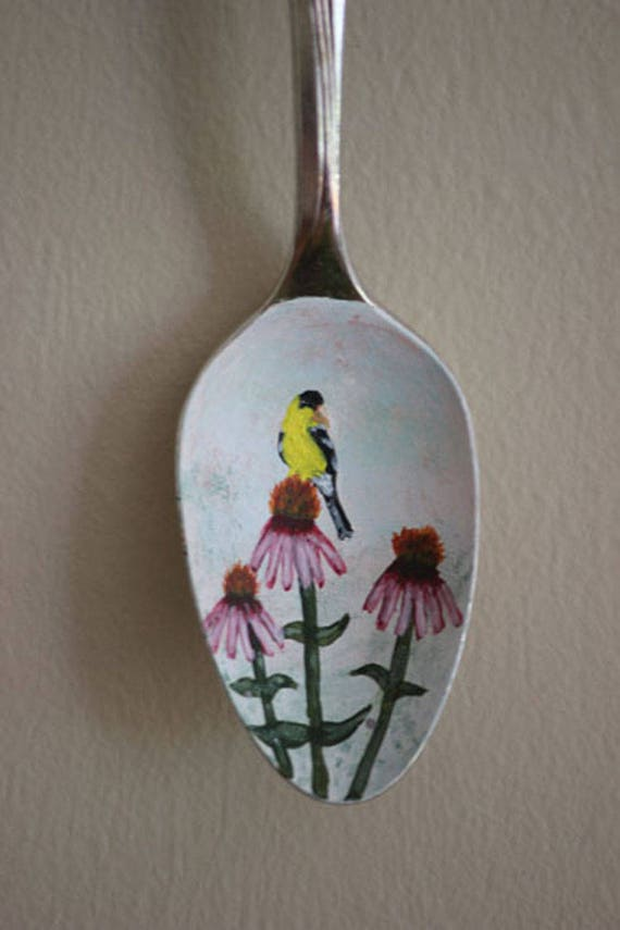 Goldfinch on Purple Coneflower, Unique, Collectible Painted Spoon,bird art, Small Gift, garden art, ornament, hostess gift, songbird,