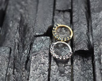 BLACK CZ diamond horizontal eternity hoop Daith earring / Cartilage / Septum ring / Nose ring
