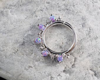 Five stone Purple Opal with cluster trinity ball hoop Daith earring / Cartilage / Septum ring / Nose ring