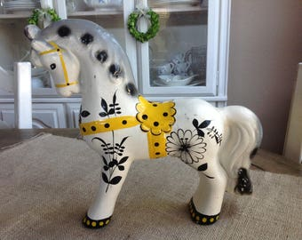 Vintage Horse Dala Horse Style with Yellow and Balck Designs Feels Like Paper Mache