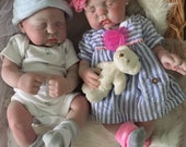 Full Body Lifelike Reborn Twins Baby Girl Doll Lillian and Baby Boy Aaron Anatomically Correct 17 inches