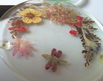 Vintage Pressed Flower Glass Coasters Set of 5