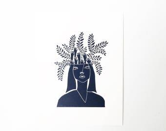 Eleanor  //  Lino Print - Block Print - Modern Art - Linocut - Printmaking