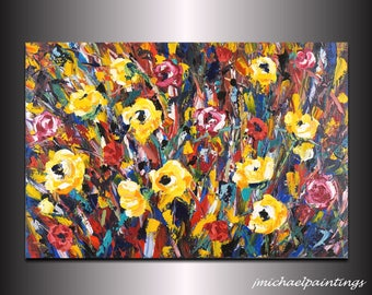 Large Modern Abstract Red Yellow  Wildflower Flowers Palette Knife Painting on Canvas Contemporary Flowers Colorful Landscape 24x36 JMichael