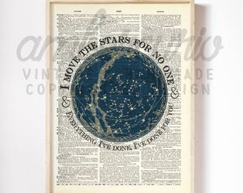 Move the Stars Labyrinth 1980's David Bowie Goblin King Movie Inspired Print on an Antique Unframed Upcycled Bookpage