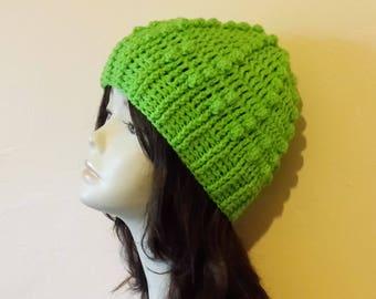 Crochet Bobble Hat, Textured Hat, Bobble Beanie Hat, Popcorn Stitch Crochet Hat, FREE UK DELIVERY
