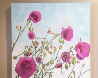 Succulent Painting, succulent flowers painting, Calandrinias, painting of flowers, botanical painting, succulent oil painting,succulents,