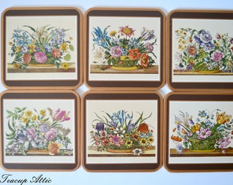 Set of 6 Pimpernel Coasters in Original Box, Four Traditional Coasters Floray Array Pattern, Hostess Gift,  ca. 1980