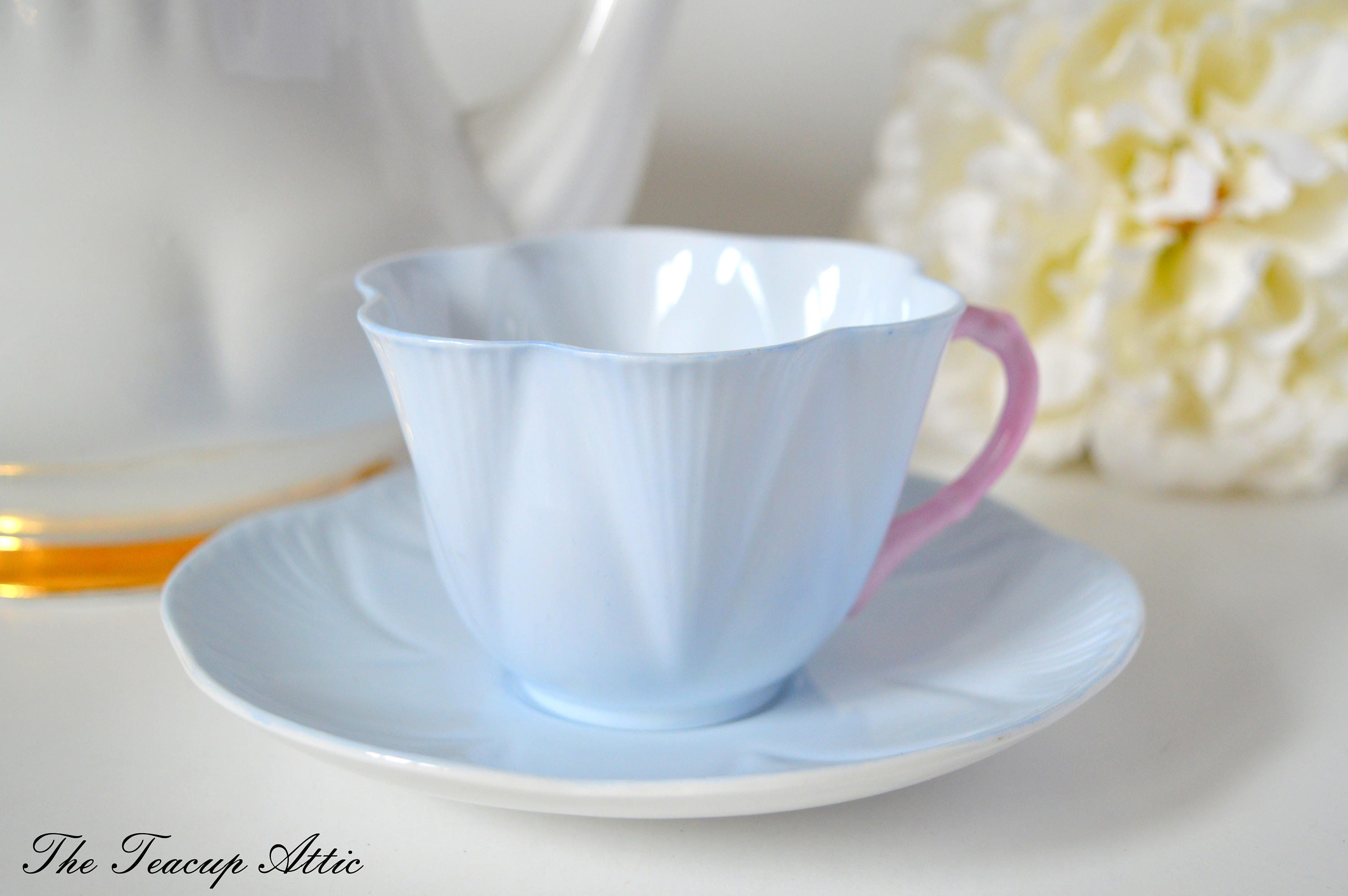 Shelley Pale Blue Teacup And Saucer Set With Pink Handle, English Bone China Tea Cup, Wedding Gift, Fluted Teacup,  ca. 1945-1966