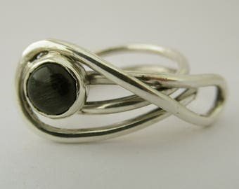 Infinity Ring, Silver Eternity Ring ,Green Stone Ring,  Sterling Silver Ring, Eternity, Promise Ring.