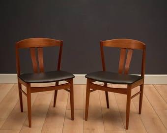 Vintage Pair of Teak Danish Dining Chairs