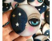 2.25 pinback button with my digital illustration, Moon, Stars