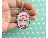 Necklace with art print pendant, Digital art, Strawberry Shortcake