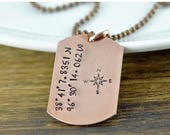 July 4th SALE 10% off Mens Coordinate Necklace - Coordinates Gift - Coordinate Jewelry - Custom Coordinates - Copper Dog Tag Necklace - Hand