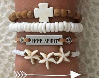 beach bracelet stack , starfish beach jewelry, free spirit boho style, gift for her