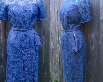 Vintage 1950s Blue Lace Wiggle Dress / Fabulous Condition!