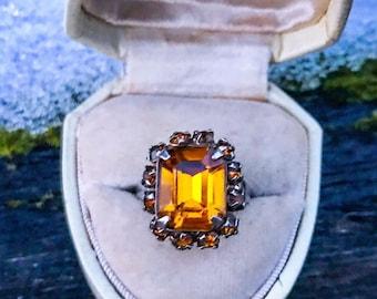 Vintage 1930s Citrine or Golden Topaz Glass Ring / Size 6.25 Adjustable