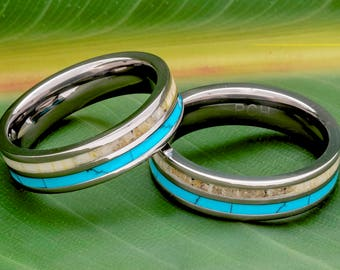 Deer Antler Ring Titanium for Women and Men Turquoise 6mm Wedding Band Comfort Fit