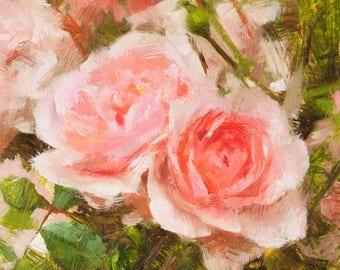 "Rose Oil Painting Original Artwork Pink Floral Flower Botanical Realistic Impressionist Miniature 6x6"" Fine Art Oil on Panel Original Art"