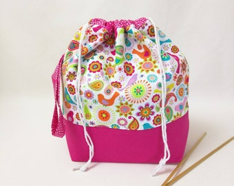 Medium Drawstring Project Bag with Organizer Pockets - Spring Birds