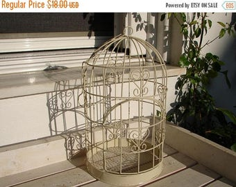 CLEARANCE SALE 15% OFF shabby chic,small,vintage ivory wire bird cage-Victorian style with hinged door & hanging chain, wedding table decor