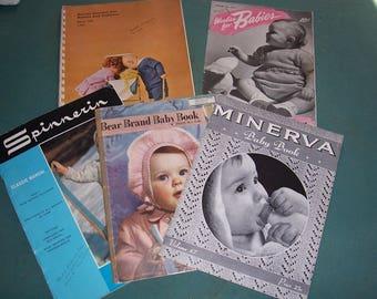 Set of 5 Vintage 1940's-60's... Crochet & Knitting Pattern Books for Baby Items...Bernat , Spinnerin, Minerva..Mid Century Patterns..