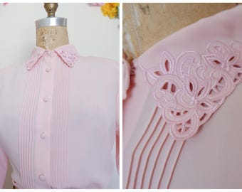 Pink Feminine Romantic women's pink shirt, Vintage pleated placket shirt, long sleeve cotton, vintage 50s, Victorian romanticism shirt