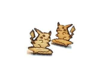 Surfing Pikachu Earrings  Laser Cut Jewelry   Hypoallergenic Studs   Wood Earrings