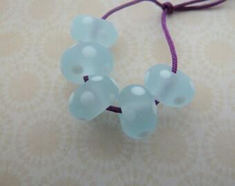 handmade lampwork frosted blue spots glass beads, UK set
