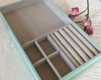 Supply Jewelry Tray. Tiffany Blue and Beige Jewelry Keeper. Jewelry Organizer. Stackable Jewelry Tray