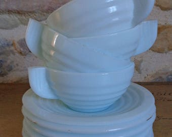 Pale blue milkglass cups and saucers, set of 4 Art Deco style teacups