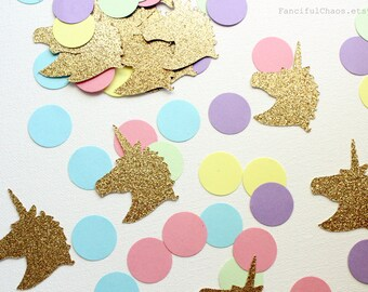 Unicorn Rainbow Circle Confetti Die cuts- Baby Shower, 1st birthday, embellishment, party table decoration