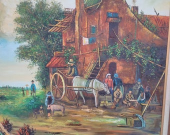 Vintage Signef Oil Painting of Pilgrims Family at Farm House