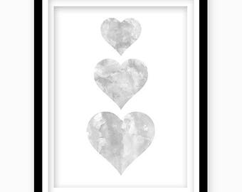 Watercolor Heart Print, Dark Gray Heart, Digital Download, Gray Nursery Wall Decor, Printable Wall Art, Gray Bedroom Decor, Nursery Art