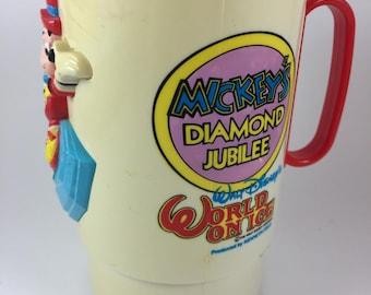 Mickey's Diamond Jubilee Cup with Handle, Walt Disney's World on Ice Souvenir