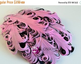 ON SALE 1 Curly Nagorie Feather Pads - Goose Feather Pad - Pink & Black - DIY headband hair clip hat newborn photo prop wedding supplies bab