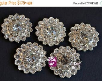 ON SALE Metal Rhinestone Buttons Crystal Clear FLATBACK 24mm - Flower Centers - Wedding Bridal Prom Jewels Sparkle Vintage Inspired Wholesal