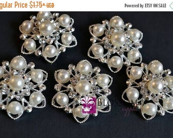 ON SALE LOOP & Flatback Ivory Rhinestone Pearl Metal Embellishments - Crystal Clear 26mm Flower Centers - Wedding Bridal Prom Ivory Pearls S