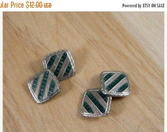 ETSYCIJ Silver and Green Art Deco Style Square Cuff Links / Vintage 1920s Square Cuff Links / Mens Accessories