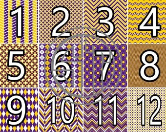 Purple, Gold (Yellow), and White printed Vinyl or HTV Sheets You choose 6x6, 8.5x11, 12x12, 12x24 or 12x36