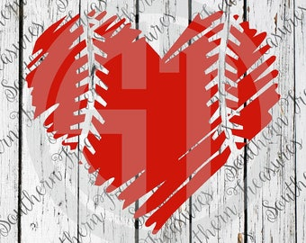 Baseball Heart Distressed Editable vector Cut File .eps .ai .svg and .pdf formats included INSTANT download