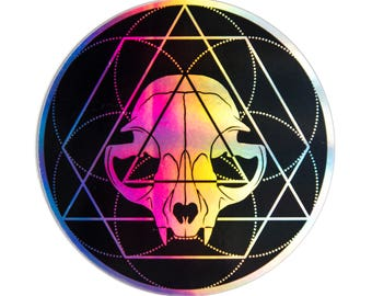 Holographic Sacred Geometry Cat Skull Sticker
