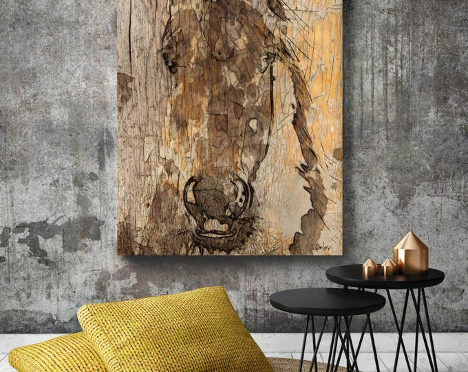 "Prince Horse. Extra Large Horse, Unique Horse Wall Decor, Brown Rustic Horse, Large Contemporary Canvas Art Print up to 72"" by Irena Orlov"