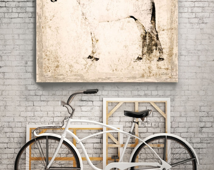 """White Horse. Extra Large Horse, Unique Horse Wall Decor, White Rustic Horse, Large Contemporary Canvas Art Print up to 72"""" by Irena Orlov"""