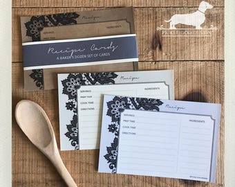 Black Lace. A Baker's Dozen (Qty 13) Set of 4x6 Recipe Cards -- (Vintage-Style, Elegant, Bridal Shower Favor, Wedding Gift, Shabby Chic)