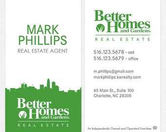 no photo Better Homes and Gardens real estate business cards - thick, color both sides - FREE UPS ground shipping