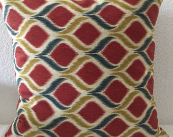 Pillow cover, throw pillow cover, cushion cover, red blue gold ikat print, 18x18 inch square-Oro in Royale by Mill Creek